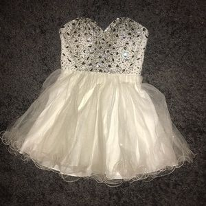 White/Silver Homecoming Dress